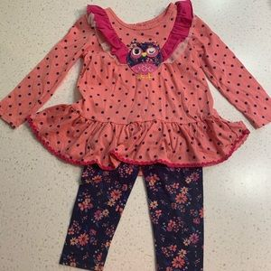 5/$20 Nanette Baby winking owl floral dot outfit